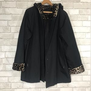 90s style cheetah hooded oversized coat pockets